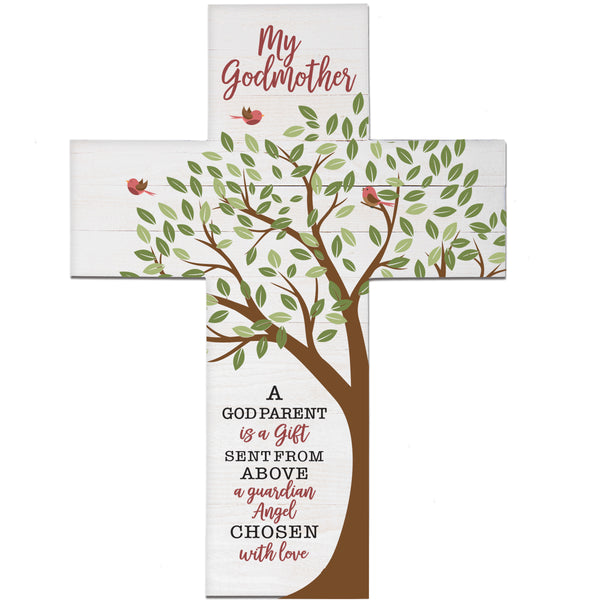 LifeSong Milestones Baptism Gift for Godmother - Christening Pallet Hanging Wall Cross from Godchild Godson Goddaughter for First Holy Communion 19x14