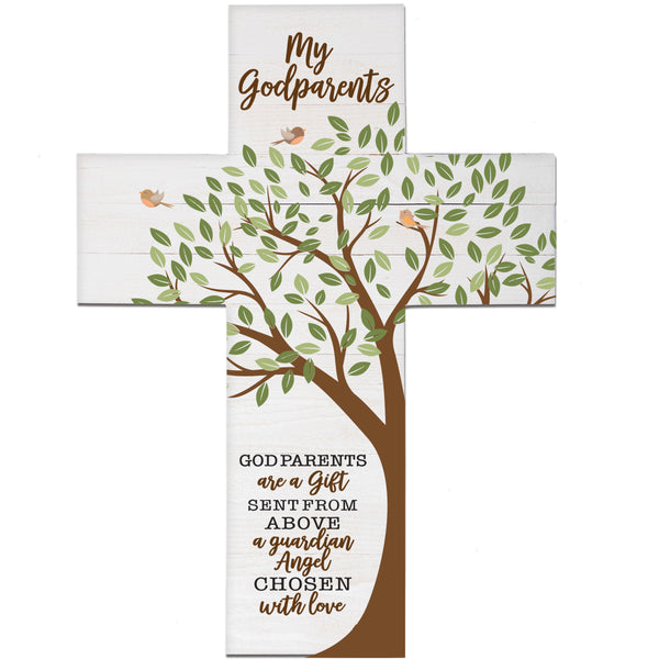 LifeSong Milestones Baptism Gift for Godparents - Christening Pallet Hanging Wall Cross from Godchild Godson Goddaughter for First Holy Communion 19x14