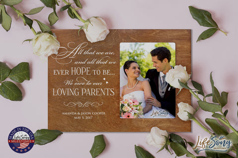 LifeSong Milestones Personalized 8x10 Picture Frame with Spanish Verse Made of Solid Wood for Wedding Anniversary or Engagement Gift for Couple Tabletop or Wall Mounting
