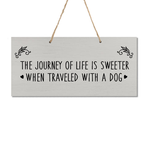 "LifeSong Milestones Pet Quote Dog Wall Hanging Sign, Dog Lovers Gifts for Women, Dog Owner Gift for Home Decor, 5.5"" x 12"""