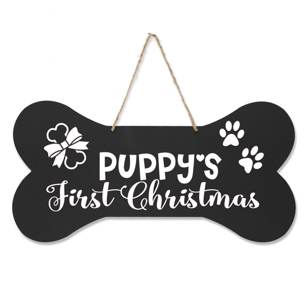 LifeSong Milestones Dog Lovers Bone Sign - Puppy's First Christmas