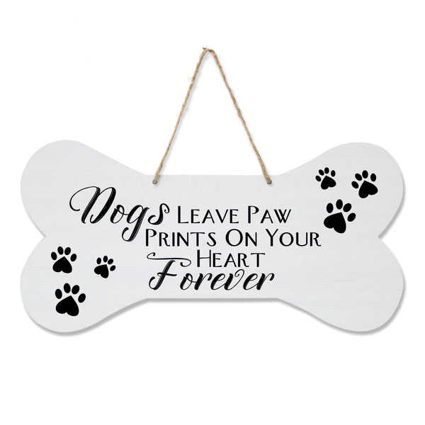 LifeSong Milestones Dog Lovers Bone Sign - Dogs Leave Paw Prints