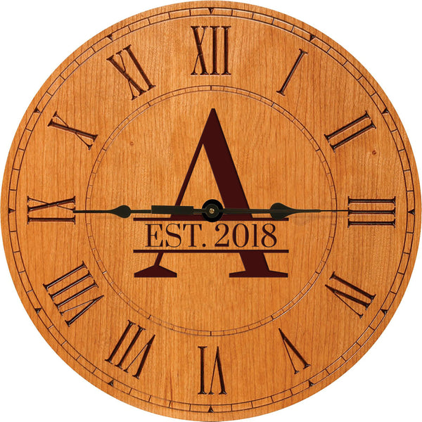 Personalized Engraved Monogram Cherry Wood Clock with Est. Year 12""