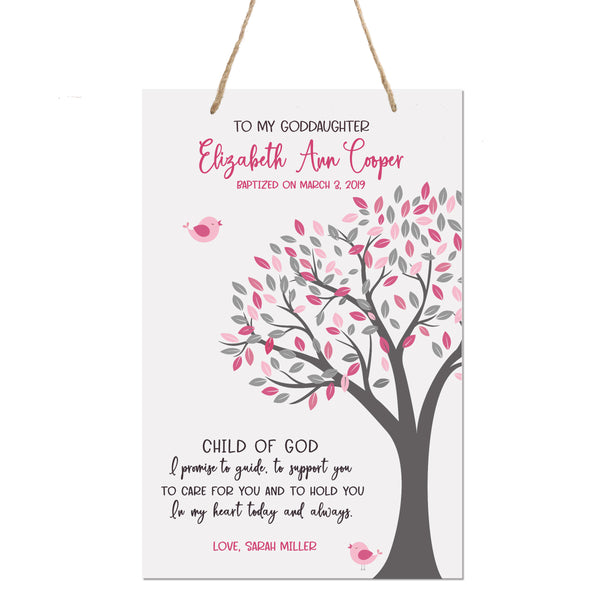 Personalized Baptism Rope Hanging Sign For Goddaughter - Child Of God