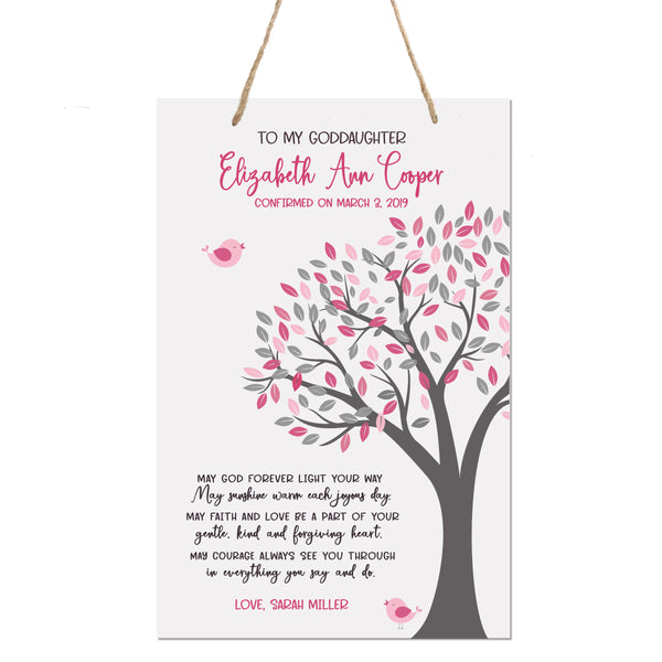 Personalized Baptism Rope Hanging Sign For Goddaughter - May God