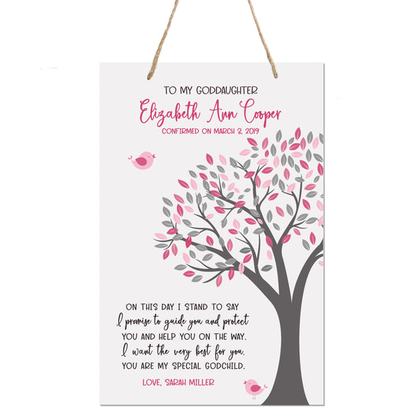 Personalized Baptism Rope Hanging Sign For Goddaughter - On This Day