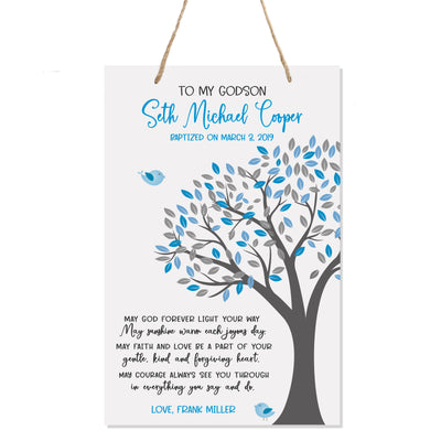 Personalized Baptism Rope Hanging Sign For Godson - Light Your Way