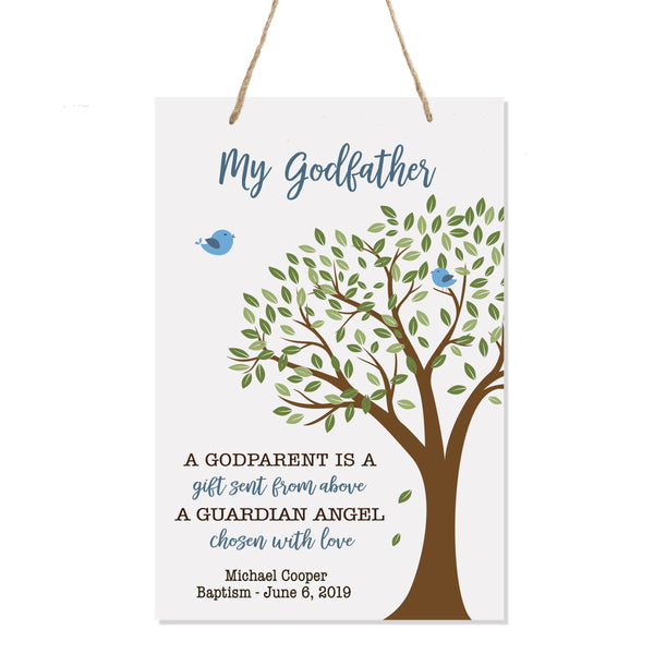 "LifeSong Milestones Baptism Christening Modern rope tree sign for Godparents From Godson Goddaughter Godchild First Holy Communion gift Mother Father Godparents 8""x 12"""