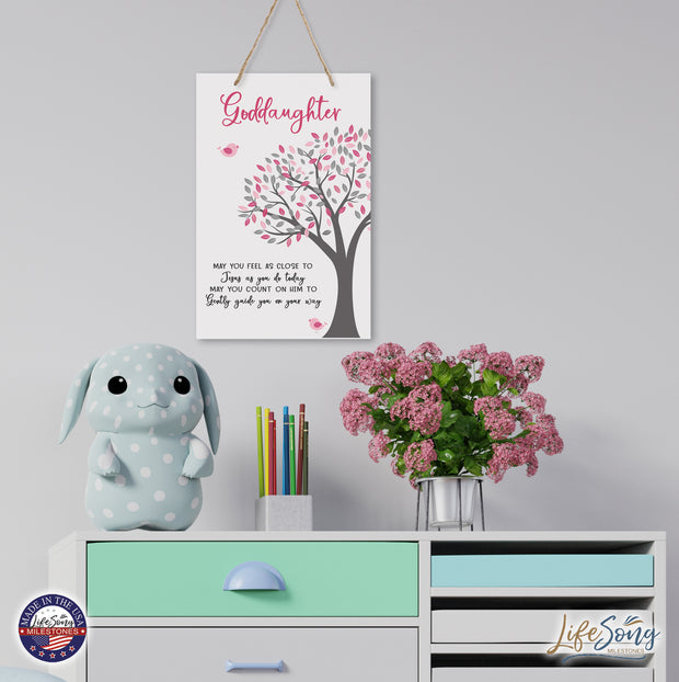 Baptism Goddaughter Wall Hanging Rope Signs
