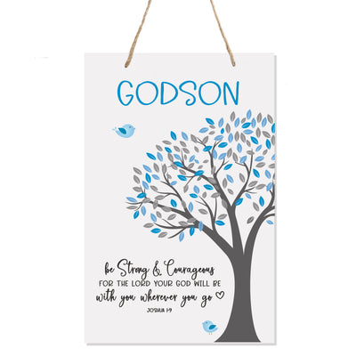 "LifeSong Milestones First Holy Communion gifts for Baptism,Christening Baby dedication for Godson Godchild Son Teenagers and Baby boys Wall hanging sign 8""x 12"""