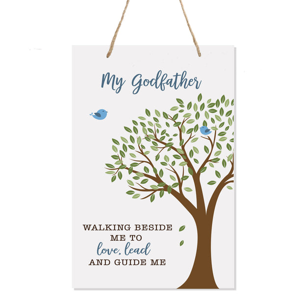 "LifeSong Milestones Baptism Christening Modern rope tree sign for Godfather From Godson Goddaughter Godchild First Holy Communion gift Mother Father Godparents 8""x 12"""