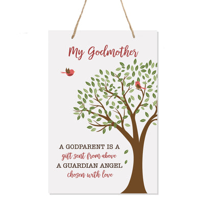 "LifeSong Milestones Baptism Christening Modern rope tree sign for Godmother From Godson Goddaughter Godchild First Holy Communion gift Mother Father Godparents 8""x 12"""