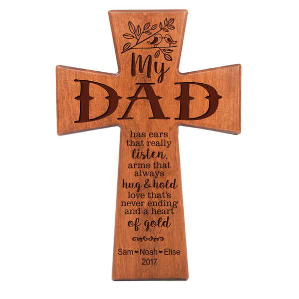 "LifeSong Milestones Personalized Family Keepsake Wooden Cross Decorative Ornament Gift for Aunt from Family 7"" x 11"""