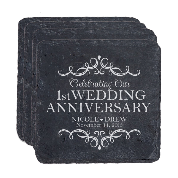 LifeSong Milestones Personalized Anniversary Slate Coaster