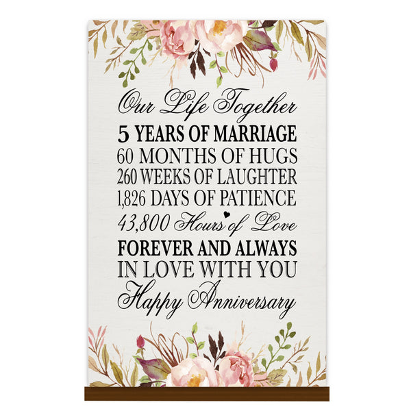 LifeSong Milestones Floral 1st Anniversary Plaque 5 year of marriage - One Year Wedding Keepsake Gift for parents husband wife him her - Our Life Together