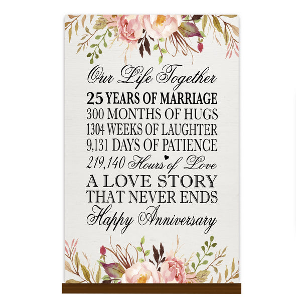 LifeSong Milestones Floral 1st Anniversary Plaque 25 year of marriage - One Year Wedding Keepsake Gift for parents husband wife him her - Our Life Together