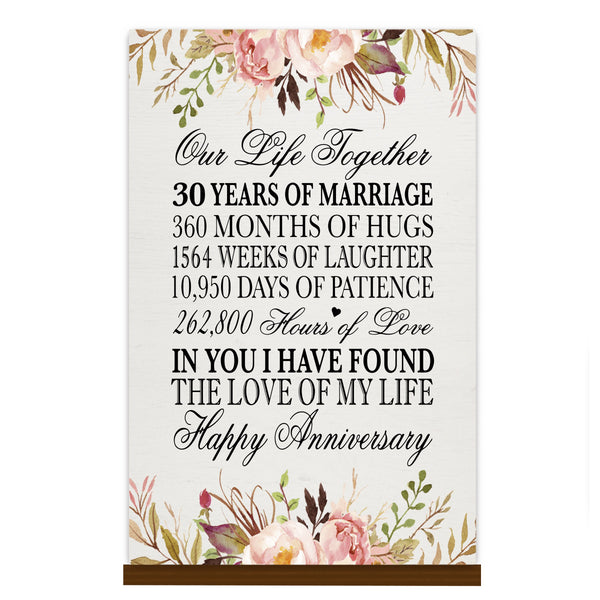 LifeSong Milestones Floral 1st Anniversary Plaque 30 year of marriage - One Year Wedding Keepsake Gift for parents husband wife him her - Our Life Together