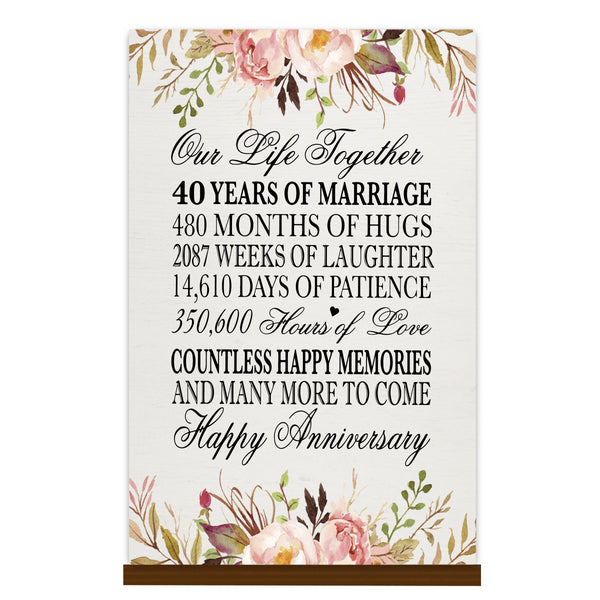 LifeSong Milestones Floral 1st Anniversary Plaque 40 year of marriage - One Year Wedding Keepsake Gift for parents husband wife him her - Our Life Together