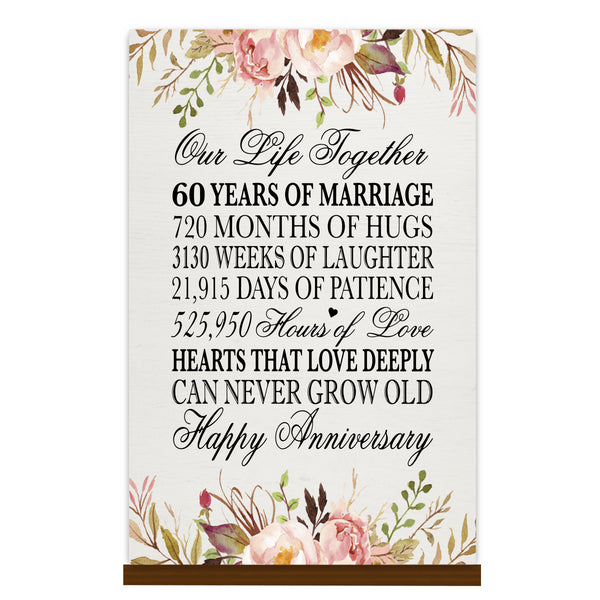 LifeSong Milestones Floral 1st Anniversary Plaque 60 year of marriage - One Year Wedding Keepsake Gift for parents husband wife him her - Our Life Together