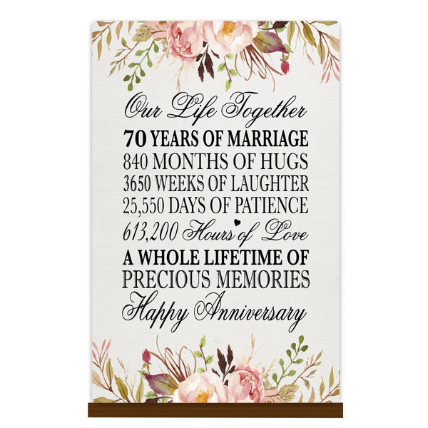 LifeSong Milestones Floral 1st Anniversary Plaque 70 year of marriage - One Year Wedding Keepsake Gift for parents husband wife him her - Our Life Together