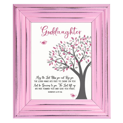 "LifeSong Milestones Framed Baptism Colored Frame For Goddaughter Godchild Wall Decor Sign with Frame and Inspirational Verse 12"" x 14"""