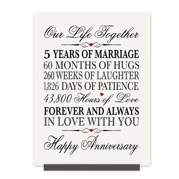 LifeSong Milestones 2nd Anniversary Plaque 2 year of marriage - Two Year Wedding Keepsake Gift for parents husband wife him her - Our Life Together