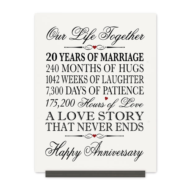 LifeSong Milestones 20th Anniversary Plaque 20 year of marriage - Twenty Year Wedding Keepsake Gift for parents husband wife him her - Our Life Together