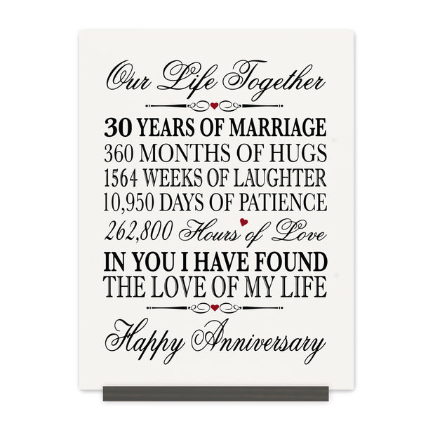 LifeSong Milestones 30th Anniversary Plaque 30 year of marriage - Thirty Year Wedding Keepsake Gift for parents husband wife him her - Our Life Together