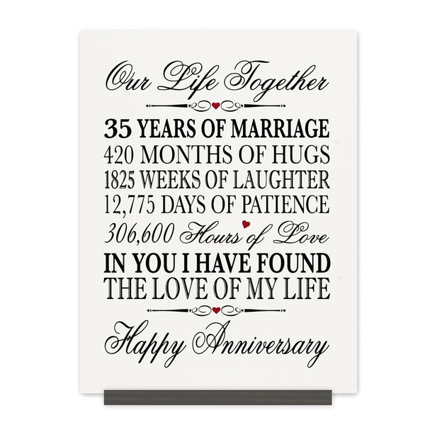 LifeSong Milestones 35th Anniversary Plaque 35 year of marriage - Thirty Five Year Wedding Keepsake Gift for parents husband wife him her - Our Life Together