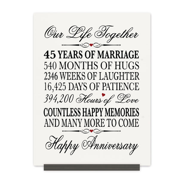 LifeSong Milestones 45th Anniversary Plaque  45 year of marriage - Forty Five Year Wedding Keepsake Gift for parents husband wife him her - Our Life Together