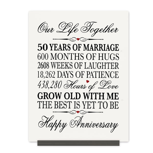 LifeSong Milestones 50th Anniversary Plaque  50 year of marriage - Fifty Year Wedding Keepsake Gift for parents husband wife him her - Our Life Together