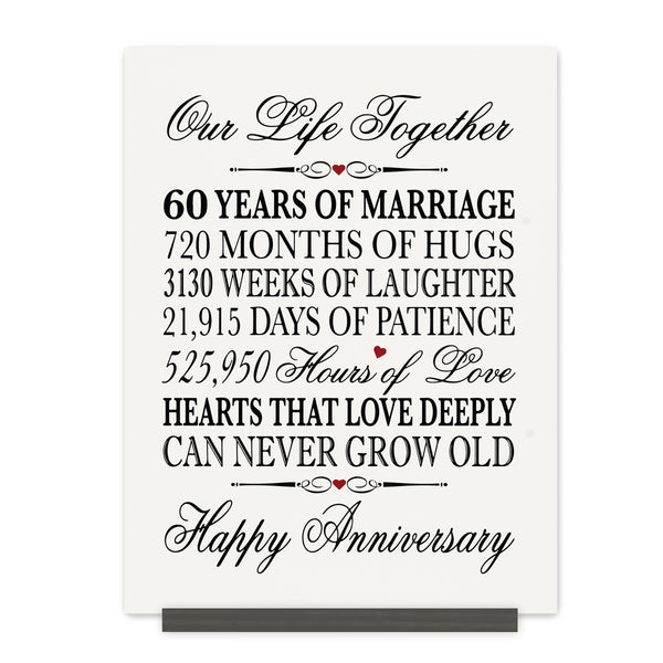 LifeSong Milestones 60th Anniversary Plaque  60 year of marriage - Sixty Year Wedding Keepsake Gift for parents husband wife him her - Our Life Together
