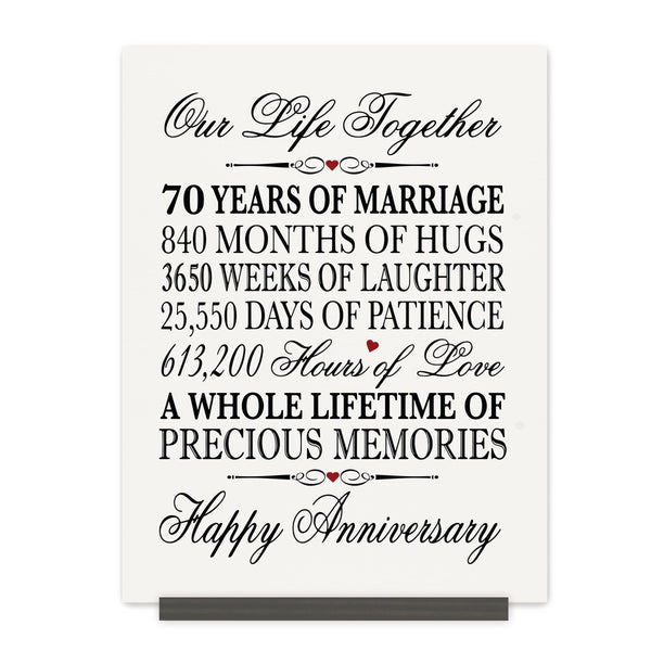 LifeSong Milestones 70th Anniversary Plaque  70 year of marriage - Seventy Year Wedding Keepsake Gift for parents husband wife him her - Our Life Together