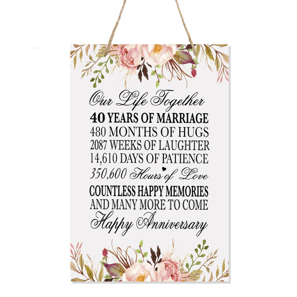 LifeSong Milestones Floral 40th Anniversary Plaque 40 years of marriage - Forty Year Wedding Keepsake Gift for parents husband wife him her - Our Life Together