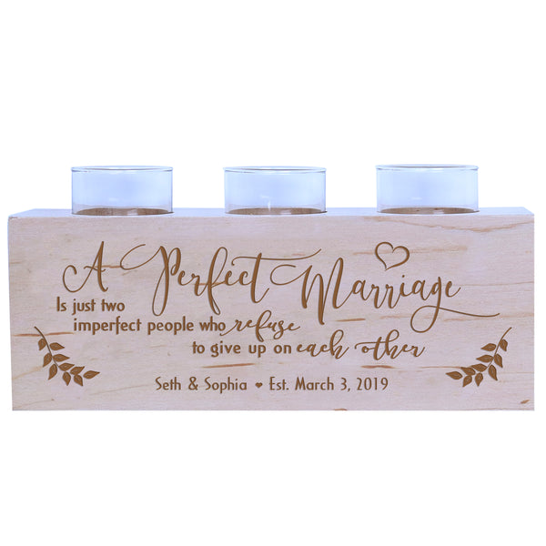 Lifesong Milestones A Perfect Marriage is Just two Imperfect People Personalized Wedding Anniversary gifts for Couple Engraved Maple Wooden Candle Holder