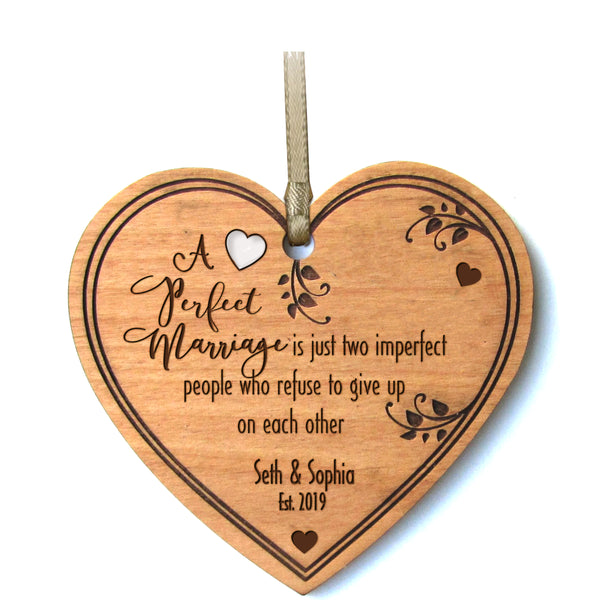 LifeSong Milestones Personalized Heart Ornament With Name and Date for parents husband wife him her A Perfect Marriage Wedding Anniversary - Keepsake Gift 4.5""