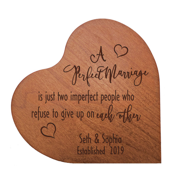 LifeSong Milestones Personalized Anniversary Heart Decor with Inspirational Wedding Verse for Mr & Mrs - him and her engagement gift made of Recycled Wood - Perfect Marriage 5""