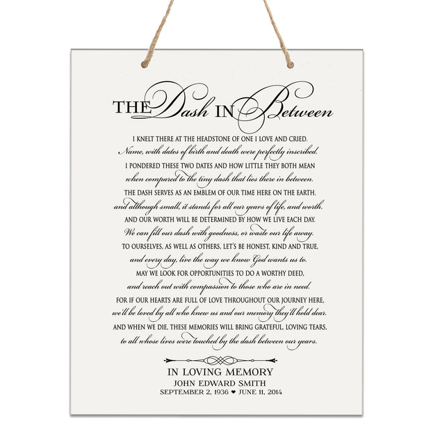 Personalized Wedding Memorial Bereavement Wall Sign - Dash Between - cemetery grave deceased family friends miscarriage stillbirth stillborn infant memorial service decor death grieving passed away