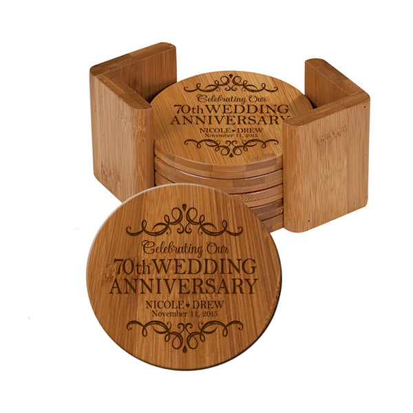 LifeSong Milestones Personalized 70th Anniversary Solid Bamboo Coaster 6 Piece Set For Drinks With Holder - Wedding Keepsake Gift for Parents Husband Wife Him Her 3.75""