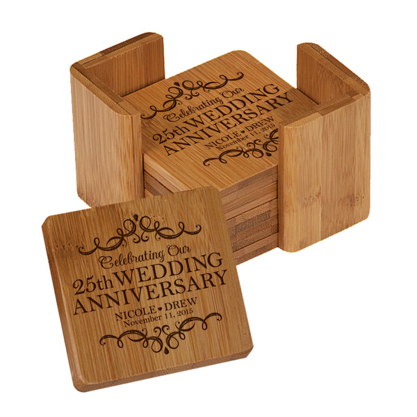 LifeSong Milestones Personalized 25th Anniversary Solid Bamboo Coaster 6 Piece Set For Drinks With Holder - Wedding Keepsake Gift for Parents Husband Wife Him Her 3.75""