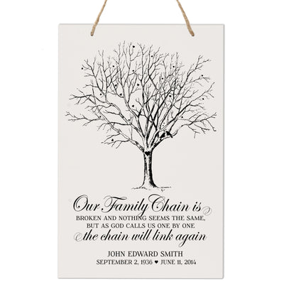 Personalized Digitally Printed Hanging Memorial Sign - Family Chain