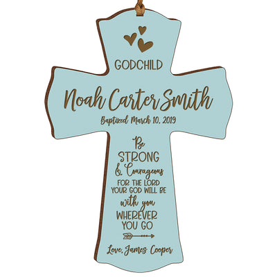 Personalized Godchild Baptism Cross for Boys Girls Strong & Courageous