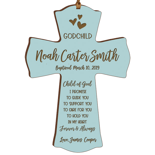 Personalized Godchild Baptism Cross for Boys Girls - I Promise