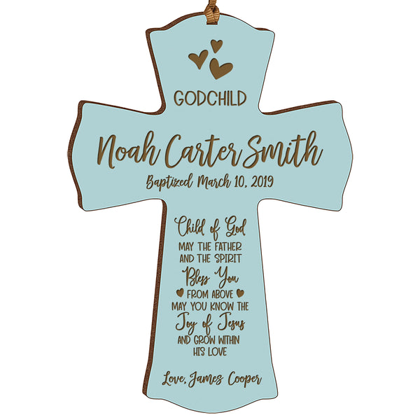 Personalized Godchild Baptism Cross for Boys Girls Child of God