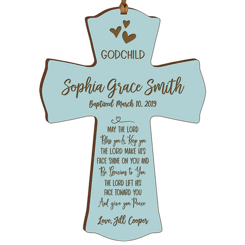 Personalized Godchild Baptism Cross for Boys Girls May The Lord