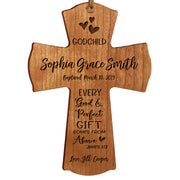 Personalized Godchild Baptism Cross for Boys Girls Good & Perfect