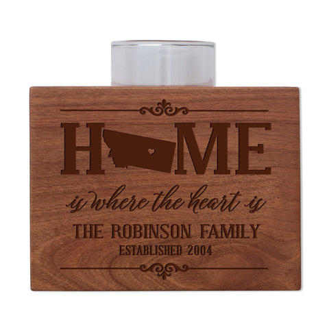Personalized State Family Candle Holder - Rocky Mountain Region