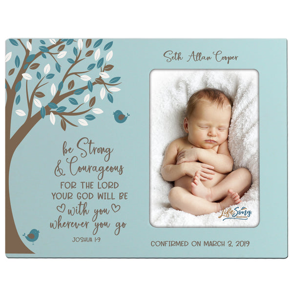 Personalized Baptism Blessing Frame Gift For Newborn - Strong and Courageous