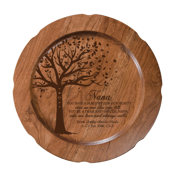 LifeSong Milestones Personalized Mother's Day Gift From Son, Grandson, Nephew Solid Cherry Wood Plate Family Keepsake 12in Aunt You Have A Place
