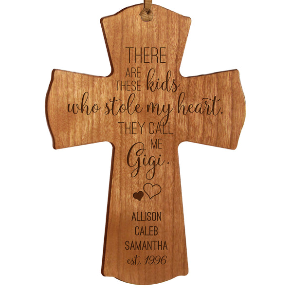 "LifeSong Milestones Personalized Mother's Day Gift From Son, Grandson, Nephew Solid Wood Mini Cross Family Keepsake 4""x6"" Gigi These Kids"